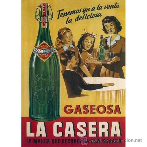 GASEOSA LA CASERA. CARTEL PUBLICITARIO. DISEÑO RETRO. CUADRO EN TABLA DE 40X 28 CM. EXCLUSIVO (Coleccionismo - Botellas y Bebidas - Coca-Cola y Pepsi)
