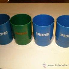 Coleccionismo de Coca-Cola y Pepsi: CUATRO VASOS AÑOS 70 PEPSI. Lote 26943931