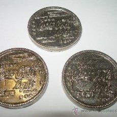 Coleccionismo de Coca-Cola y Pepsi: TRES FICHAS PARA ANTIGUAS MAQUINAS DE.... COCA COLA. Lote 27719260