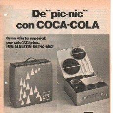 Coleccionismo de Coca-Cola y Pepsi: PUBLICIDAD ANTIGUA. REFRESCOS. COCA COLA. MALETÍN DE PIC-NIC. 1973.. Lote 27772945