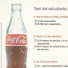 Coleccionismo de Coca-Cola y Pepsi: POSTAL PROMOCIONAL DE COCA-COLA, TEST DEL ESTUDIANTE. Lote 47325270