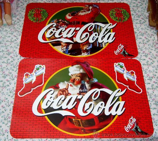 MANTEL, DOS SALVA MANTELES INDIVIDUALES DE COCA COLA, CON DIBUJO DE PAPA NOEL Y MOTIVOS NAVIDEÑOS (Coleccionismo - Botellas y Bebidas - Coca-Cola y Pepsi)