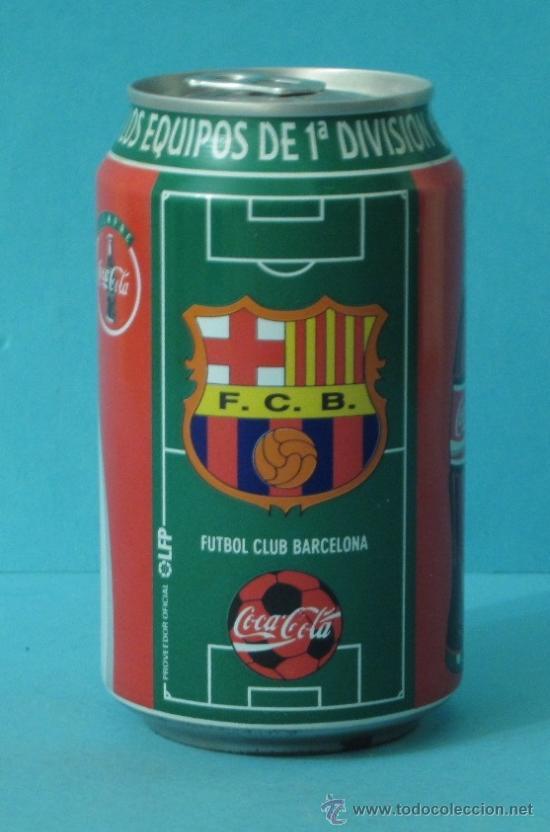 BOTE COCA COLA. ESCUDO DEL F.C. BARCELONA LIGA 96-97 (Coleccionismo - Botellas y Bebidas - Coca-Cola y Pepsi)
