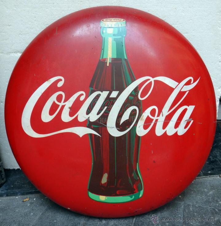 IMPRESIONANTE CHAPA PUBLICIDAD COCA COLA , 92 CMS. AÑOS 1940 50, ORIGINAL (Coleccionismo - Botellas y Bebidas - Coca-Cola y Pepsi)