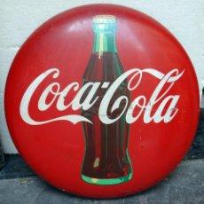 Coleccionismo de Coca-Cola y Pepsi: IMPRESIONANTE CHAPA PUBLICIDAD COCA COLA , 92 CMS. AÑOS 1940 50, ORIGINAL. Lote 39954785