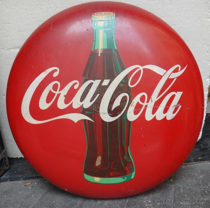 Coleccionismo de Coca-Cola y Pepsi: IMPRESIONANTE CHAPA PUBLICIDAD COCA COLA , 92 CMS. AÑOS 1940 50, ORIGINAL - Foto 2 - 39954785
