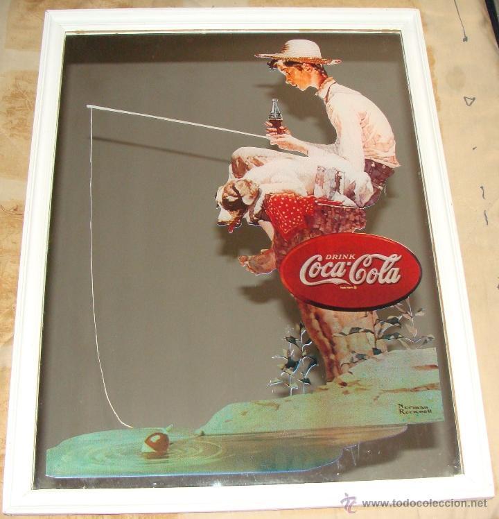 Antiguo Cuadro Espejo De Coca Cola Ni 241 O Pescan Comprar