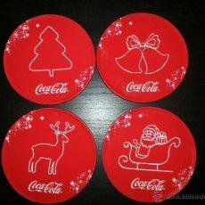 Coleccionismo de Coca-Cola y Pepsi: CAJA METÁLICA CON 4 POSA VASOS DE COCA COLA. Lote 41611647