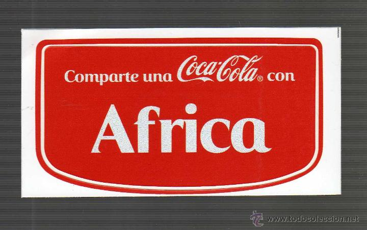 ETIQUETA ADHESIVA PERSONALIZADA - COMPARTE UNA COCA-COLA CON ÁFRICA - (Coleccionismo - Botellas y Bebidas - Coca-Cola y Pepsi)