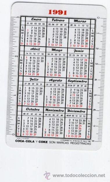 Coleccionismo de Coca-Cola y Pepsi: Calendario bolsillo ** COCA-COLA ** ¡ SENSACIÓN DE VIVIR ! (1991) - Foto 2 - 43322896