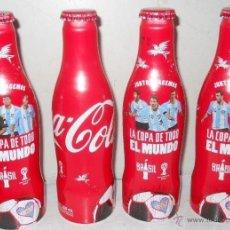 Coleccionismo de Coca-Cola y Pepsi: SET DE 4 BOTELLAS DE COCA COLA DE ALUMINIO MUNDIAL 2014. Lote 43409764