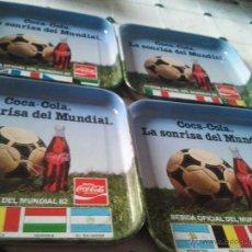 Coleccionismo de Coca-Cola y Pepsi: LOTE 4 ANTIGUOS POSAVASOS METALICOS COCA-COLA MUNDIAL 82'. Lote 44491735