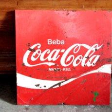 Coleccionismo de Coca-Cola y Pepsi: CARTEL DE CHAPA, ORIGINAL DE COCA COLA, 44X44. Lote 45742079