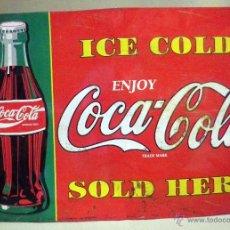 Coleccionismo de Coca-Cola y Pepsi: ANTIGUA CHAPA DE COCA COLA, ICE COLD, SOLD HERE, DE CLAVOS, 42 X 30 CM, 1970S. Lote 45962451