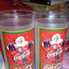 Coleccionismo de Coca-Cola y Pepsi: COCA COLA - PAREJA DE VASOS CRISTAL - MOTIVOS NAVIDEÑOS - ALTURA 14 CM. Lote 46116818