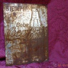 Coleccionismo de Coca-Cola y Pepsi: ANTIGUA CHAPA DE HOJALATA QUE SE COLOCABAN EN LAS FACHADAS DE LOS BARES DE COCA COLA-. Lote 46194968