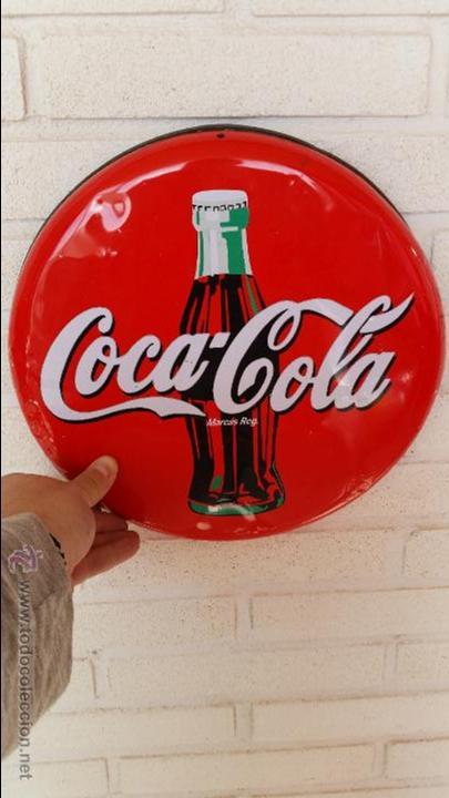 CARTEL REDONDO CHAPA LITOGRAFIADO COCA COLA AÑOS 80-90 METALICO ANUNCIO PUBLICIDAD (Coleccionismo - Botellas y Bebidas - Coca-Cola y Pepsi)