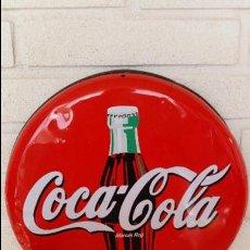 Coleccionismo de Coca-Cola y Pepsi: CARTEL REDONDO CHAPA LITOGRAFIADO COCA COLA AÑOS 80-90 METALICO ANUNCIO PUBLICIDAD. Lote 46195738