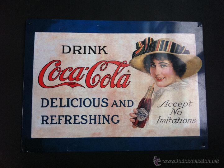 CARTEL METÁLICO (COCA COLA) 35 X 25CM (Coleccionismo - Botellas y Bebidas - Coca-Cola y Pepsi)