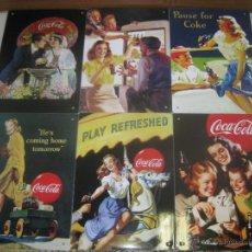 Coleccionismo de Coca-Cola y Pepsi: 6 CARTELES CHAPA COCACOLA. Lote 50288546
