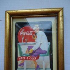 Coleccionismo de Coca-Cola y Pepsi: CUADRO ANTIGUO CON CHAPA PUBLICITARIA DE COCA COLA.. Lote 50413883