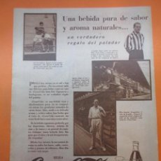 Coleccionismo de Coca-Cola y Pepsi: PUBLICIDAD 1930 -COLECCION REFRESCOS- COCA COLA Y GOROSTIZA LA BALA ROJA ATHLETIC BILBAO ARAQUIZTAIN. Lote 51072086