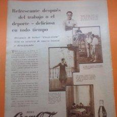 Coleccionismo de Coca-Cola y Pepsi: PUBLICIDAD 1930 - COLECCION REFRESCOS - COCA COLA Y QUESADA REAL MADRID COCHITA PICQUER. Lote 51072133