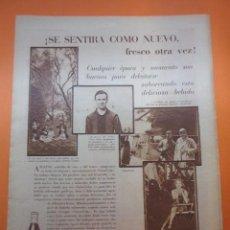 Coleccionismo de Coca-Cola y Pepsi: PUBLICIDAD 1930 - COLECCION REFRESCOS - COCA COLA Y FELIX PEREZ RACING CLUB BETTY COMPSON. Lote 51072146