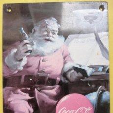 Coleccionismo de Coca-Cola y Pepsi: CHAPA METÁLICA (21 X 15 CM). COCA COLA. PAPÁ NOEL.. Lote 52279711