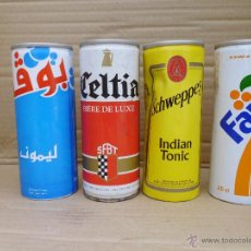 Coleccionismo de Coca-Cola y Pepsi: 4 ANTIGUAS LATAS (CADUCIDAD 1992) Y DE FUERA DE ESPAÑA VACIAS. Lote 52342215