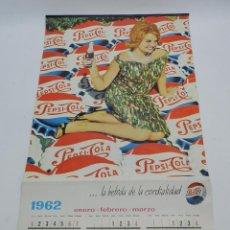 Coleccionismo de Coca-Cola y Pepsi: CALENDARIO DE PUBLICIDAD DE PEPSICOLA, AÑO 1962, GRAFICAS MANEN, TIENE 4 HOJAS Y POR ERRATA EN LA IM. Lote 53014837