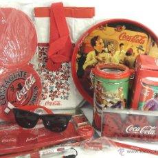 Coleccionismo de Coca-Cola y Pepsi: LOTE 10 ARTICULOS PROMOCION COCA-COLA ESTUCHE,GAFAS SOL,BANDEJA,TARR0,BOLI,BOLSO..ETC COKE COCACOLA. Lote 53413983