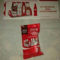Coleccionismo de Coca-Cola y Pepsi: COCA COLA SOBRE MINI BOTELLA Y EXPOSITOR. Lote 55255532