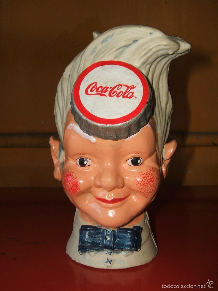 HUCHA COCA-COLA. HIERRO. SPRITE BOY CON SOMBRERO EXPENDEDOR DE SODA. (Coleccionismo - Botellas y Bebidas - Coca-Cola y Pepsi)