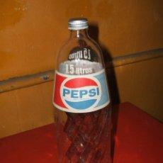 Coleccionismo de Coca-Cola y Pepsi: BOTELLA CRISTAL PEPSI, PEPSI-COLA, 1,5 LITROS CON TAPÓN. SERIGRAFIADA.. Lote 56158856