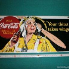 Coleccionismo de Coca-Cola y Pepsi: CHAPA DE PUBLICIDAD COCA COLA EN METAL GRUESO VER FOTO DE LA PARTE DE ATRAS BUEN ESTADO. Lote 57304859