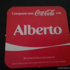 Coleccionismo de Coca-Cola y Pepsi: POSAVASOS COCA COLA CON NOMBRE ALBERTO. Lote 58409654