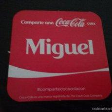 Coleccionismo de Coca-Cola y Pepsi: POSAVASOS COCA COLA CON NOMBRE MIGUEL. Lote 58409670