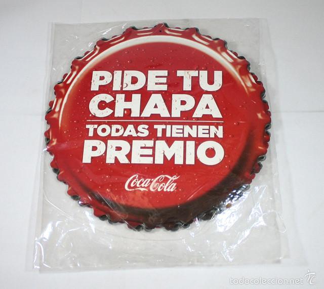 PUBLICIDAD COCA COLA, PIDE TU CHAPA... 6 CHAPAS CARTON 25 CM (3 UNIDAS Y 3 SUELTAS), VER IMAGENES (Coleccionismo - Botellas y Bebidas - Coca-Cola y Pepsi)