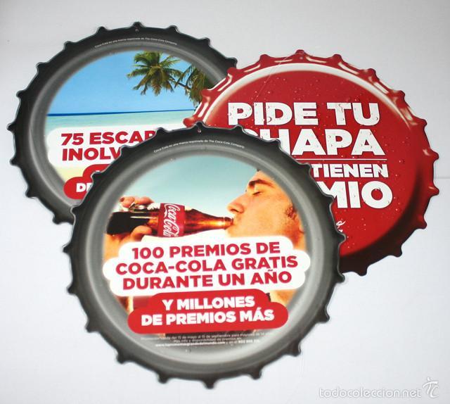 Coleccionismo de Coca-Cola y Pepsi: PUBLICIDAD COCA COLA, PIDE TU CHAPA... 6 CHAPAS CARTON 25 CM (3 UNIDAS Y 3 SUELTAS), VER IMAGENES - Foto 2 - 58517583