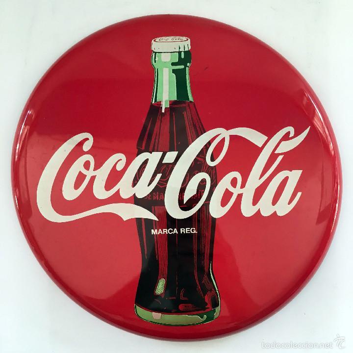 Chapa redonda de metal coca cola botella y logo comprar - Chapa coca cola pared ...