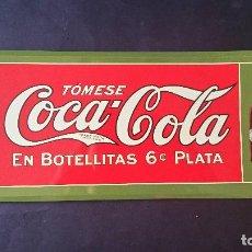Coleccionismo de Coca-Cola y Pepsi: CARTEL CHAPA METALICA DECORATIVA PUBLICIDAD COCA COLA COKE BOTELLA DE COCA-COLA PLATA AÑOS 70/80. Lote 62622292