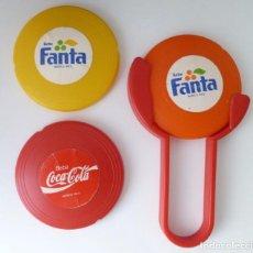 Coleccionismo de Coca-Cola y Pepsi: MINI FRISBEES PROMOCIÓN COCA COLA Y FANTA -COMPLETO- AÑOS 80. Lote 62646764