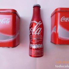 Coleccionismo de Coca-Cola y Pepsi: DOS LATAS DE COCA COLA, Y BOTELLA 125 ANIVERSARIO CERRADA,. Lote 67026854