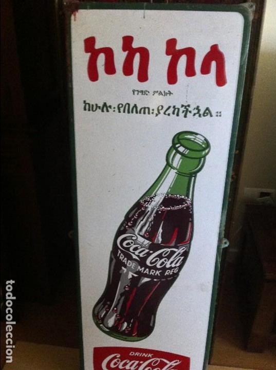 Coleccionismo de Coca-Cola y Pepsi: 1950s Coca-Cola Porcelain Metal Sign for Ethiopia. 133X48cms.Original / Placa Chapa esmaltada Coke - Foto 2 - 68361161