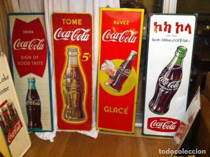 Coleccionismo de Coca-Cola y Pepsi: 1950s Coca-Cola Porcelain Metal Sign for Ethiopia. 133X48cms.Original / Placa Chapa esmaltada Coke - Foto 4 - 68361161