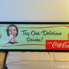 Coleccionismo de Coca-Cola y Pepsi: 1957 COCA-COLA CARDBOARD SIGN. ORIGINAL. FRAMED.19,5CMS X 58CMS / ANTIGUO CARTEL COCA-COLA DE 1957. Lote 68362165