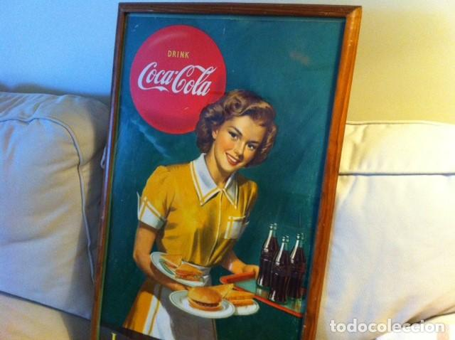 Coleccionismo de Coca-Cola y Pepsi: 1949 Coca-Cola Cardboard Sign. Lunch Refreshed. Original. 71X43 cms framed/Antiguo Cartel Coca-Cola - Foto 2 - 68365029
