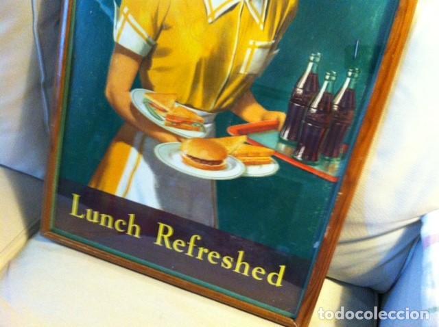 Coleccionismo de Coca-Cola y Pepsi: 1949 Coca-Cola Cardboard Sign. Lunch Refreshed. Original. 71X43 cms framed/Antiguo Cartel Coca-Cola - Foto 3 - 68365029