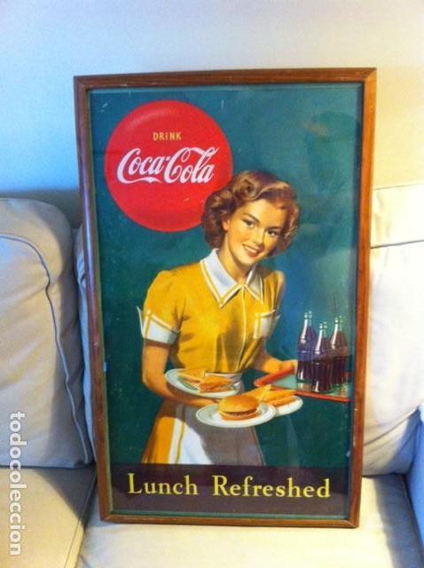 1949 COCA-COLA CARDBOARD SIGN. LUNCH REFRESHED. ORIGINAL. 71X43 CMS FRAMED/ANTIGUO CARTEL COCA-COLA (Coleccionismo - Botellas y Bebidas - Coca-Cola y Pepsi)